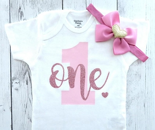 Pink and Rose Gold First Birthday Onesie - rose gold birthday shirt, pink and rose gold, themeless simple bday outfit, dusty rose and pink