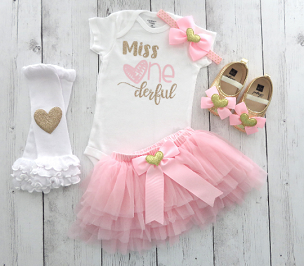 Miss ONEderful First Birthday Outfit for baby girl with pink tutu bloomers - pink and gold first birthday party, hearts birthday girl