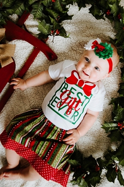Best Gift Ever Christmas Outfit - baby girl christmas outfit, christmas skirt, best gift ever onesie, xmas gift, babys 1st christmas