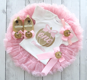 Pink Pumpkin First Birthday Outfit with tutu pettiskirt - pink and gold first birthday outfit girl, pink tutu, our little pumpkin is one