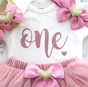 Dusty Rose First Birthday Dress with tutu bloomers - rose gold first birthday outfit girl, dusty rose tutu, themeless and simple birthday
