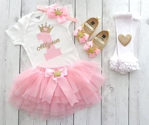 Princess First Birthday Dress with Tutu -pink and gold first birthday, princess bday tutu, 1st birthday outfit girl, pink gold princess tutu