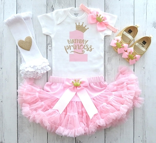 Princess First Birthday Outfit with tutu pettiskirt - pink and gold first birthday outfit girl, pink tutu, princess 1st birthday tutu outfit