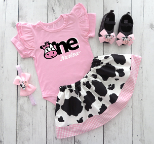 Cow First Birthday Outfit for Girl in Pink and Black - Barnyard First Birthday, Pink Cow 1st bday girl, cow shoes
