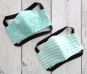 YOUTH (Ages 5-8) Face Mask in mint print - handmade cotton, washable & re-usable, comfortable head elastic, kids face mask, chevron, arrow