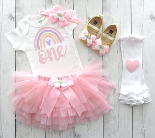 Pastel Rainbow First Birthday Outfit with Rainbow Skirt and Shoes - one year old, first birthday girl, pink pastel rainbow 1st birthday girl