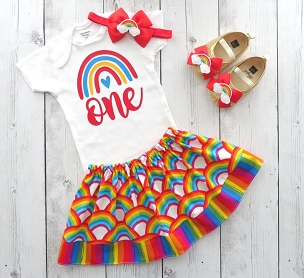 Rainbow First Birthday Outfit with Red Rainbow Skirt and Shoes - one year old, first birthday girl, red rainbow 1st birthday girl, 1st bday