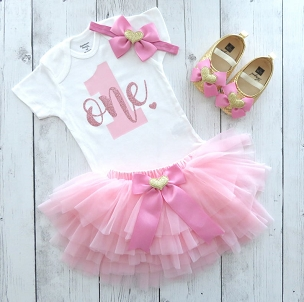 Themeless & Simple First Birthday Outfit for baby girl with pink and rose gold tutu - pink and dusty rose 1st birthday, first birthday dress