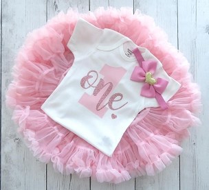 Themeless, Simple First Birthday Outfit with light pink pettiskirt tutu - 1st bday tutu, rose gold 1st bday outfit girl, dusty rose birthday