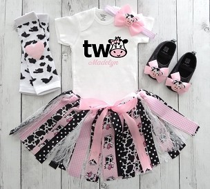 Cow Second Birthday Outfit with Pink Tutu - barnyard 2nd birthday outfit, cow second birthday tutu in pink and black, fabric tutu cow
