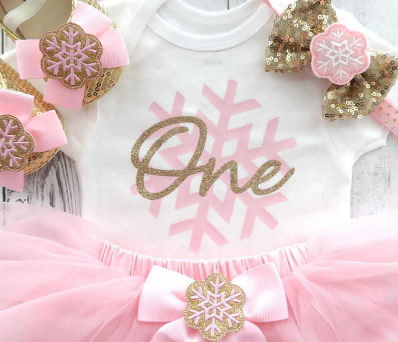 Winter ONEderland First Birthday Outfit witn pink and gold tutu - baby girl first birthday dress, snowflake pink, snow much fun to be one
