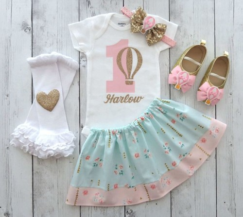 Hot Air Balloon First Birthday Outfit in mint pink and gold