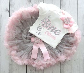Snowflake First Birthday Outfit with Pink and Grey Tutu
