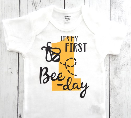 First Bee-day Onesie in yellow and black - first bee-day